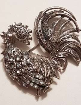 Sterling Silver Mother of Pearl and Marcasite Rooster Brooch