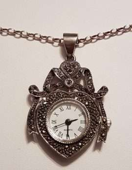 Sterling Silver Marcasite Ornate Watch Pendant on Sterling Silver Chain
