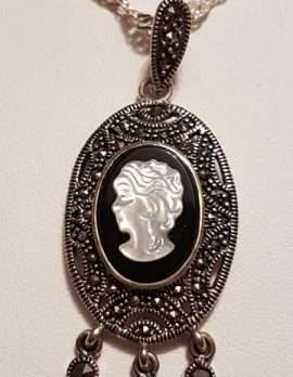 Sterling Silver Marcasite, Onyx and Mother of Pearl Cameo endant on Sterling Silver Chain