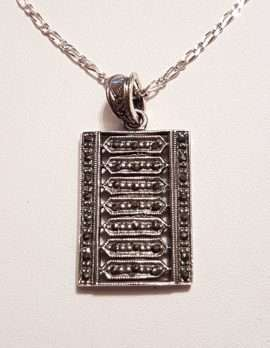 Sterling Silver Marcasite Rectangular Pendant on Sterling Silver Chain