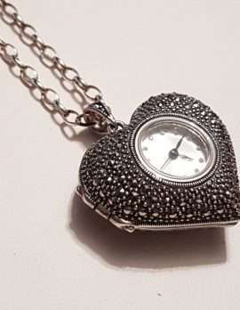 Sterling Silver Marcasite Heart Shaped Watch Pendant on Sterling Silver Chain