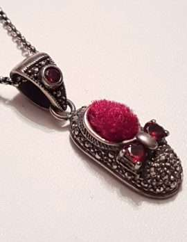 Sterling Silver Marcasite Red Pin Cushion Shoe Pendant on Sterling Silver Chain