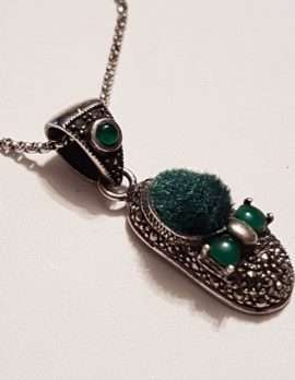 Sterling Silver Marcasite Green Pin Cushion Shoe Pendant on Sterling Silver Chain
