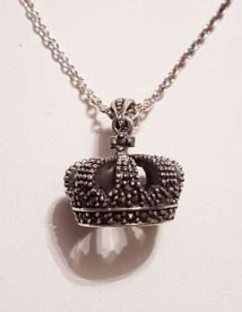Sterling Silver Marcasite Crown Pendant on Sterling Silver Chain
