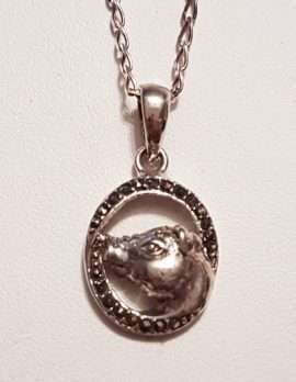 Sterling Silver Marcasite Pig Pendant on Sterling Silver Chain