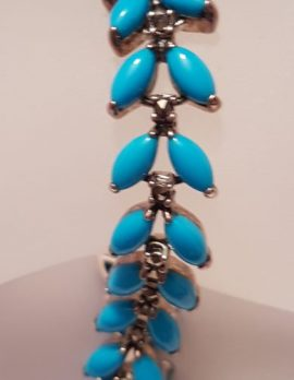 Sterling Silver Marcasite & Recon. Turquoise Leaves Bracelet