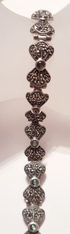 Sterling Silver Marcasite & Mother of Pearl Bow Bracelet