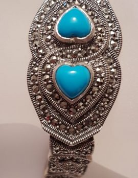 Sterling Silver Marcasite & Recon. Turquoise Wide Heart Bracelet