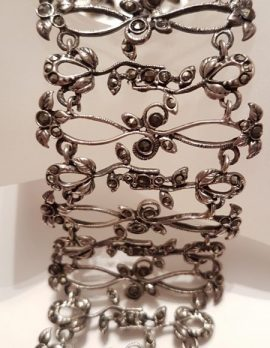 Sterling Silver Marcasite Wide Ornate Bracelet