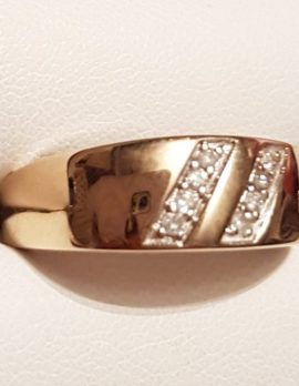 9ct Gold Diamond Wide Band Ring