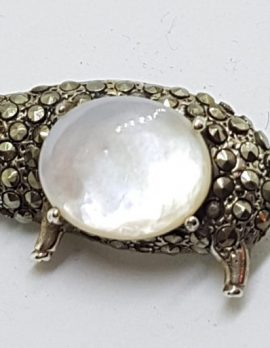 Sterling Silver Marcasite with Mother of Pearl Pig Brooch
