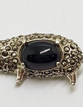 Sterling Silver Marcasite with Onyx Pig Brooch