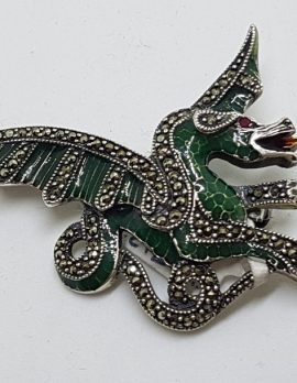 Sterling Silver Marcasite and Green Enamel Dragon Brooch