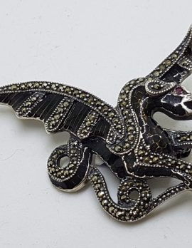 Sterling Silver Marcasite and Black Enamel Dragon Brooch