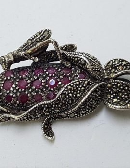 Sterling Silver Marcasite and Ruby Grasshopper / Cricket on Corn Cob Brooch