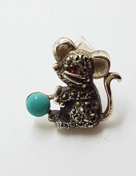 Sterling Silver Marcasite Mouse with Blue Brooch