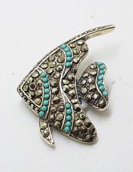 Sterling Silver Marcasite & Blue Large Fish Brooch