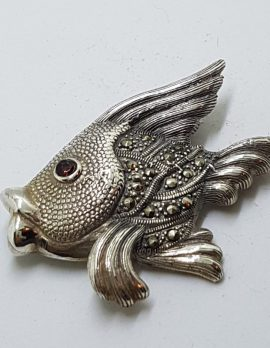 Sterling Silver Marcasite & Garnet Large Fish Brooch