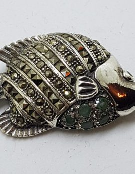 Sterling Silver Marcasite & Emerald Fish Brooch