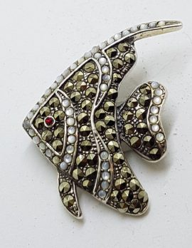 Sterling Silver Marcasite Large Mother of Pearl Fish Brooch
