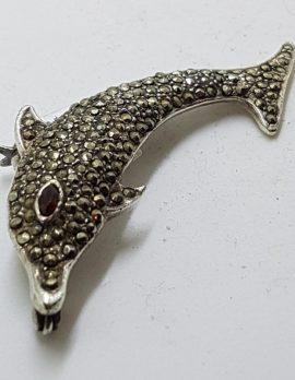 Sterling Silver Marcasite & Garnet Dolphin Brooch