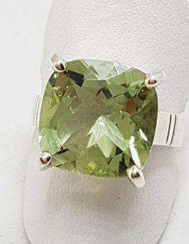 Sterling Silver Green Amethyst / Prasiolite Square Ring
