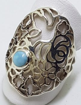 Sterling Silver Larimar Ring - Ornate Floral and Bird Design