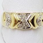 9ct Yellow Gold Diamond Wide Arrow Patterned Band Ring