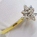 18ct Yellow Gold Diamond Flower Cluster Ring
