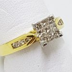 18ct Gold Diamond Square Cluster Engagement Ring