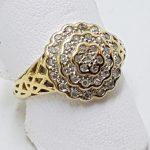 9ct Yellow Gold Diamond Round Ornate Cluster Ring