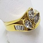 18ct Yellow Gold Marquis and Baguette Diamond Cluster Engagement and Wedding Ring Set