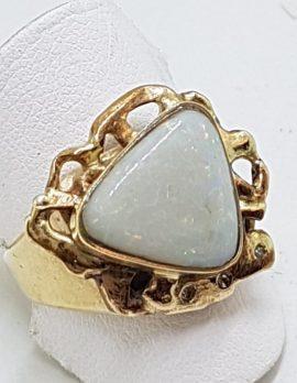 9ct Yellow Gold Solid White Opal & Diamond Handmade Ring
