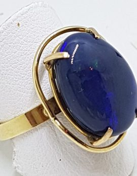 9ct Gold Large Oval Blue Opal Ring