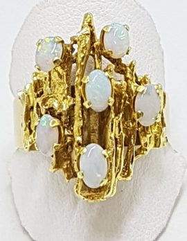 9ct Yellow Gold Solid White Opal Cluster Ring