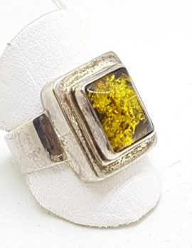 Sterling Silver Green Amber Ring - Rectangular