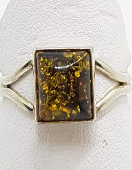 Sterling Silver Green Amber Rectangular Ring