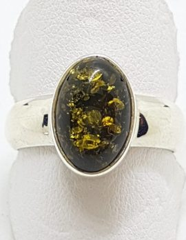 Sterling Silver Oval Green Amber Ring