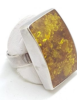 Sterling Silver Large Rectangular Natural Amber Ring
