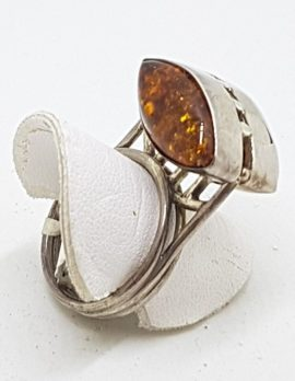 Sterling Silver Unusual and High Natural Amber Ring