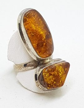 Sterling Silver Long Natural Amber Ring