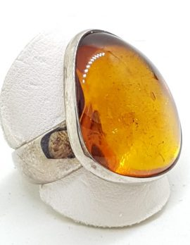 Sterling Silver Chunky Natural Amber Ring - Wide Band