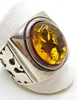 Sterling Silver Oval Natural Amber Ring - Chunky Ring with Ornate Design