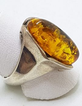 Sterling Silver Oval Natural Amber Ring