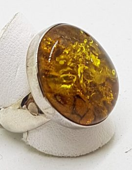Sterling Silver Large Round Natural Amber Ring