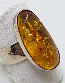 Sterling Silver Long Natural Amber Ring with Wide Band