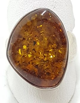 Sterling Silver Large Natural Amber Ring with Wide Band