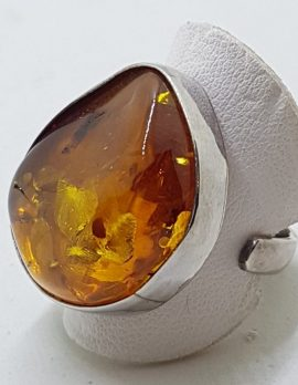 Sterling Silver Large Natural Amber Ring with Open Band