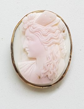 Gold Plated Oval Pink Cameo Brooch