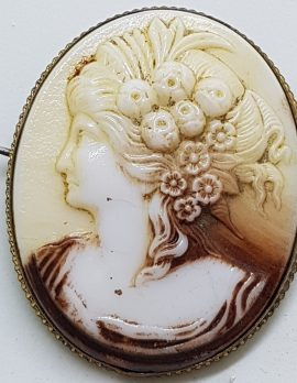 Gold Plated Large Oval Cameo Brooch